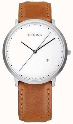 Bering Gents bracelet en cuir brun cadran blanc 11139-504