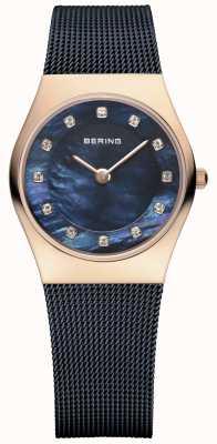 Bering Mesdames filet bleu bracelet PVD or rose 11927-367