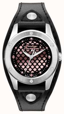 Harley Davidson Noir et or rose avec bracelet en cuir 76L163