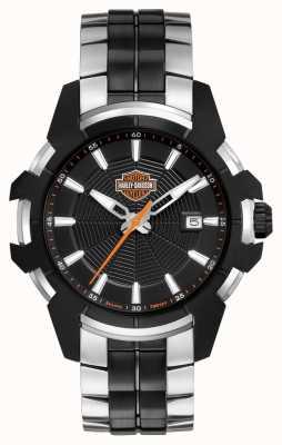 Harley Davidson Toile d'araignée pour hommes | bracelet en acier bicolore | cadran noir 78B124