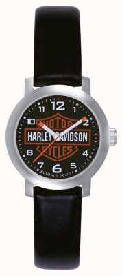 Harley Davidson Mesdames cuir noir bracelet de montre 76L10