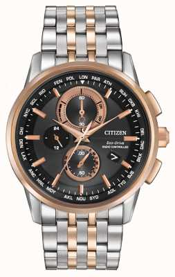 Citizen Mens acier Eco-Drive monde chrono et or rose AT8116-57E