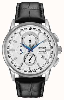 Citizen Eco-drive monde chrono au cuir radio contrôlée AT8110-02A