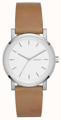 DKNY cuir brun cadran bracelet en argent de femmes NY2339