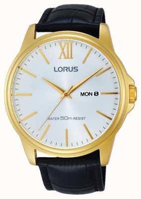 Lorus Gents cuir noir cadran bracelet en argent RXN16DX9