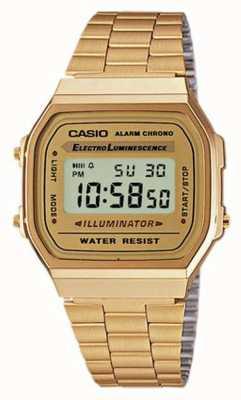 Casio Plaqué or unisexe collection numérique rétro A168WG-9EF