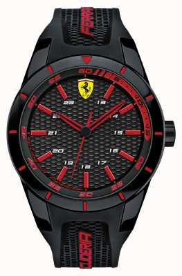 Scuderia Ferrari Red rev noir bracelet en silicone noir cadran rouge 0830245