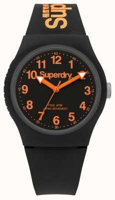Superdry Cadran noir bracelet urbain en caoutchouc noir pour homme SYG164B