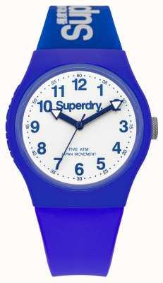 Superdry Gents bracelet en caoutchouc bleu urbaine cadran blanc SYG164U