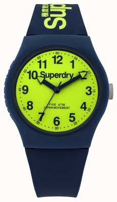 Superdry Gents bracelet en caoutchouc bleu urbaine cadran vert SYG164UN