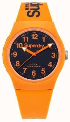 Superdry Gents caoutchouc orange urbaine bracelet cadran noir SYG164O