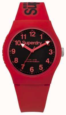 Superdry Mens bracelet rouge urbain cadran noir SYG164RB