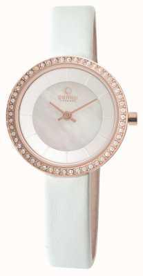 Obaku Womens bracelet en cuir blanc rose PVD or V146LEVWRW