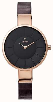 Obaku Womens bracelet en maille marron rose PVD or V149LXVNMN