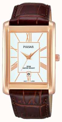 Pulsar Gents bracelet en cuir brun cadran blanc PG8248X1