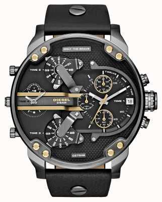 Diesel Mens mr papa chronographe 2,0 en cuir noir DZ7348