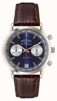 Rotary Mens vengeur bracelet en cuir brun cadran bleu GS90130/05