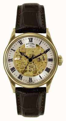 Rotary Mécanique squelette bracelet en cuir brun GS02941/03