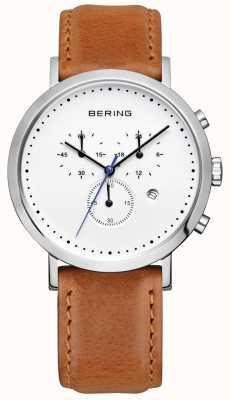 Bering Mens bracelet en cuir brun cadran blanc chrono 10540-504
