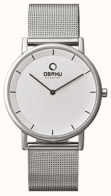 Obaku Hommes maille bracelet cadran blanc V143GXCWMC