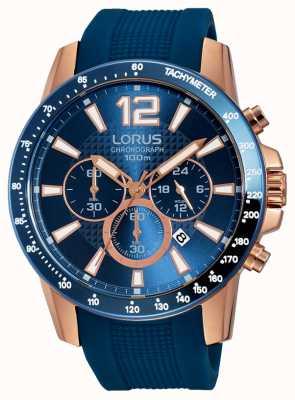 Lorus Mens bleu bracelet en silicone or rose RT392EX9