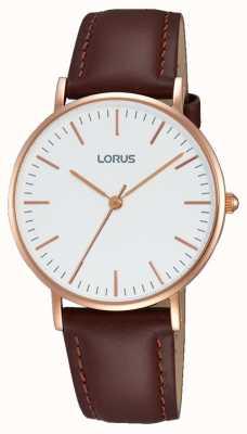 Lorus Womens bracelet en cuir brun cadran blanc RH886BX9