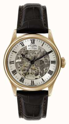 Rotary Hommes Skeleton Automatic rose bracelet brun or GS02942/01
