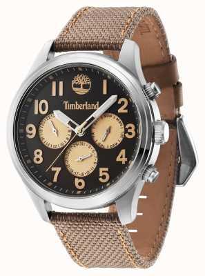 Timberland Rollins bracelet en cuir brun cadran noir 14477JS/61