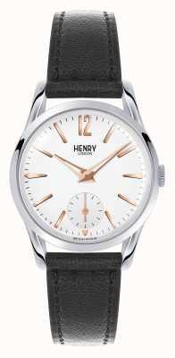 Henry London Highgate bracelet en cuir noir cadran blanc HL30-US-0001