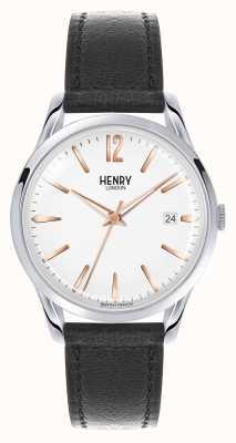 Henry London Highgate bracelet en cuir noir cadran blanc HL39-S-0005