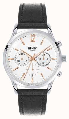 Henry London Highgate bracelet en cuir noir chronographe HL41-CS-0011
