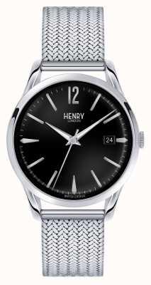 Henry London Edgware maille d'acier inoxydable cadran noir HL39-M-0015