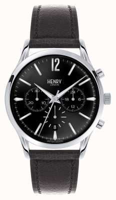 Henry London Edgware bracelet en cuir noir chronographe HL41-CS-0023