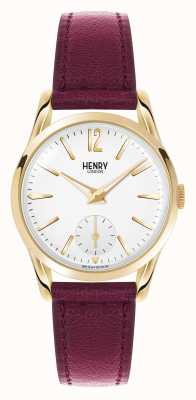 Henry London Holborn profonde bracelet en cuir rouge cadran blanc HL30-US-0060