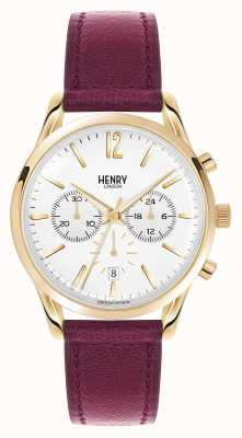 Henry London Holborn profonde cuir rouge bracelet chrono HL39-CS-0070