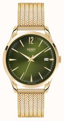Henry London Chiswick plaqué or maille cadran vert HL39-M-0102
