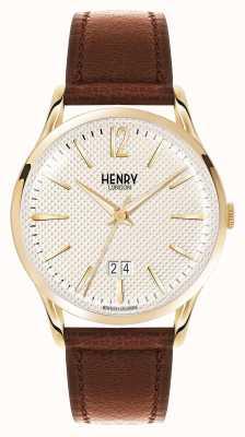 Henry London Westminster bracelet en cuir brun champagne HL41-JS-0016