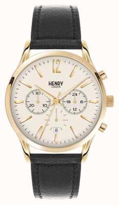 Henry London Westminster bracelet en cuir noir chronographe HL41-CS-0018
