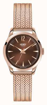 Henry London Harrow plaqué or rose en maille cadran chocolat HL25-M-0044