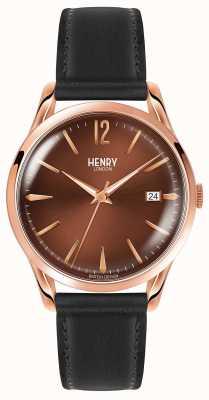Henry London Bracelet cuir noir Harrow HL39-S-0048