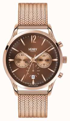 Henry London Harrow plaqué or rose en maille chronographe HL41-CM-0056