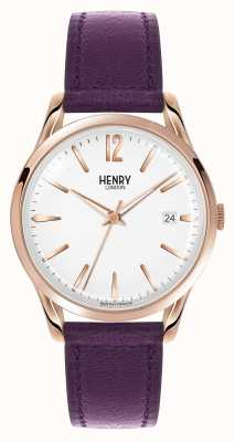 Henry London Hampstead bracelet en cuir violet cadran blanc HL39-S-0082