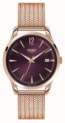 Henry London Hampstead plaqué or rose en maille cadran violet HL39-M-0078