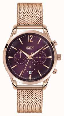 Henry London Hampstead plaqué or rose en maille chronographe HL39-CM-0088