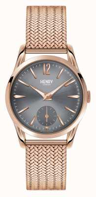 Henry London Finchley or rose maille cadran gris HL30-UM-0116