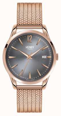 Henry London Finchley or rose en maille cadran gris HL39-M-0118