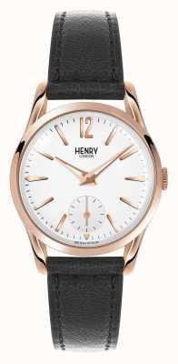 Henry London Richmond bracelet en cuir noir cadran blanc HL30-US-0024