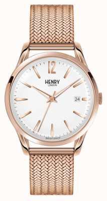 Henry London Cadran blanc à maille or rose Richmond HL39-M-0026