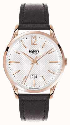 Henry London Richmond bracelet en cuir noir cadran blanc HL41-JS-0038