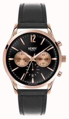 Henry London Richmond bracelet en cuir noir chronographe HL41-CS-0042